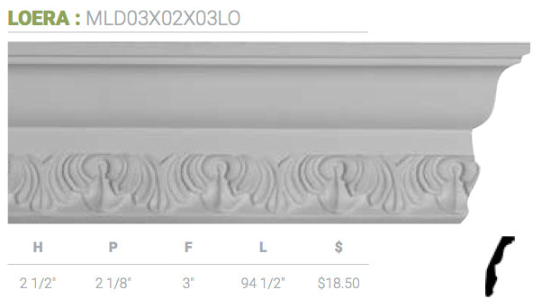 MLD03X02X03LO Loera Crown Moulding