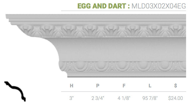 MLD03X02X04EG Egg And Dart Crown Moulding