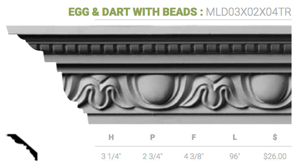 MLD03X02X04HA Egg And Dart With Beads Crown Moulding
