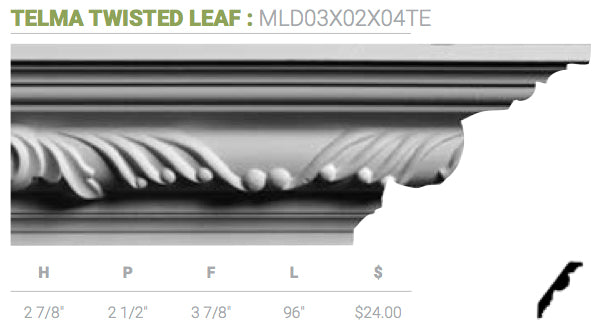 MLD03X02X04TE Telma Twisted Leaf Crown Moulding