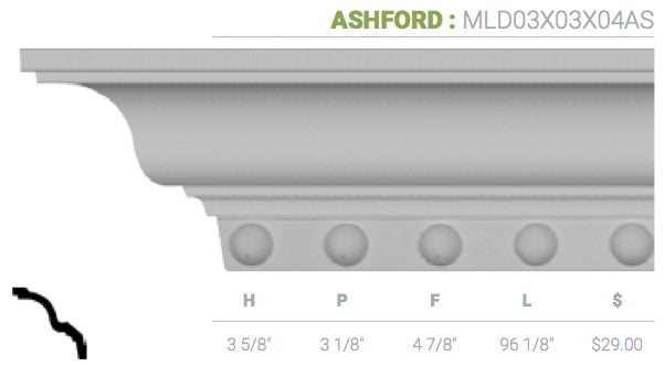 MLD03X03X04AS Ashford Crown Moulding