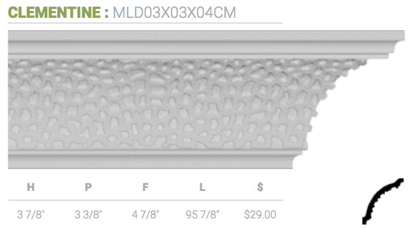MLD03X03X04CM Clementine Crown Moulding