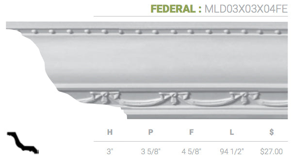 MLD03X03X04FE Federal Crown Crown Moulding