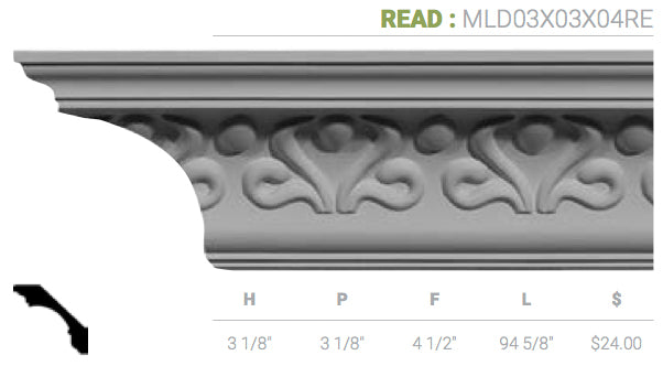 MLD03X03X04RE Read Crown Moulding