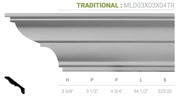 MLD03X03X04TR Traditional Crown Moulding