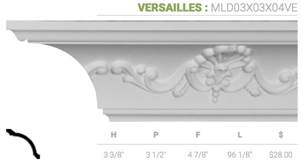 MLD03X03X04VE Versailles Crown Moulding