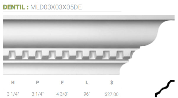MLD03X03X05DE Dentil Crown Moulding