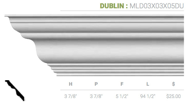 MLD03X03X05DU Dublin Crown Moulding