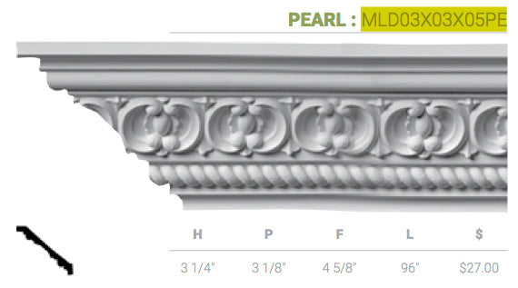MLD03X03X05PE Pearl Crown Moulding