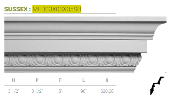 MLD03X03X05SU Sussex Crown Moulding