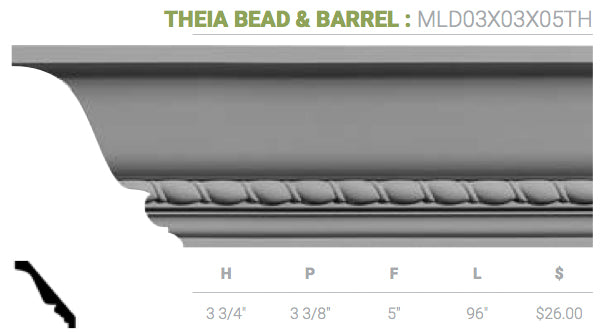 MLD03X03X05TH Theia Bead And Barrel Crown Moulding