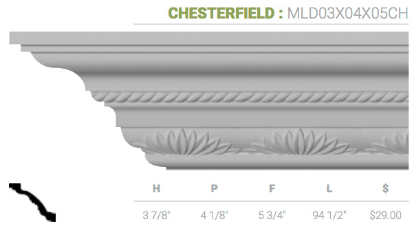 MLD03X04X05CH Chesterfield Crown Moulding