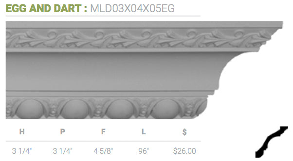 MLD03X04X05EG Egg And Dart Crown Moulding