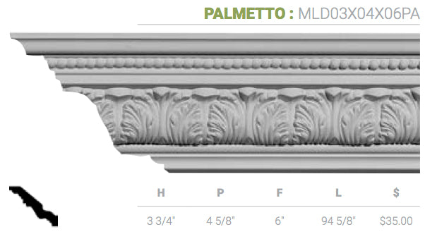 MLD03X04X06PA Palmetto Crown Moulding