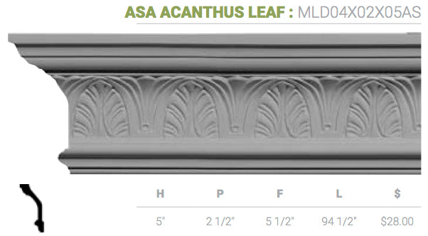 MLD04X02X05AS Asa Acanthus Leaf Crown Moulding
