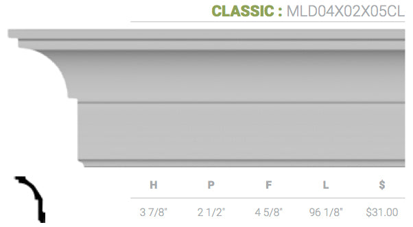 MLD04X02X05CL Classic Crown Moulding