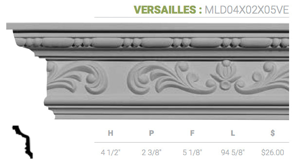 MLD04X02X05VE Versailles Crown Moulding