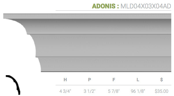 MLD04X03X04AD Adonis Crown Moulding