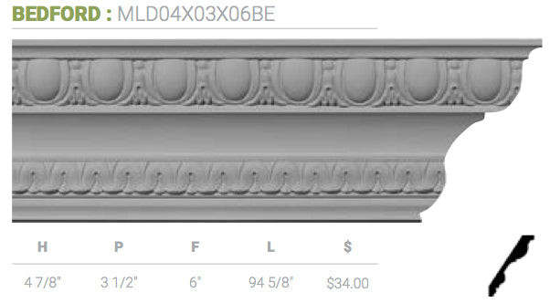 MLD04X03X06BE Bedford Crown Moulding