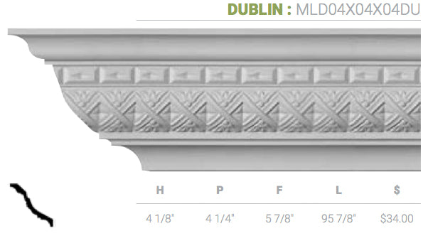MLD04X04X04DU Dublin Crown Moulding