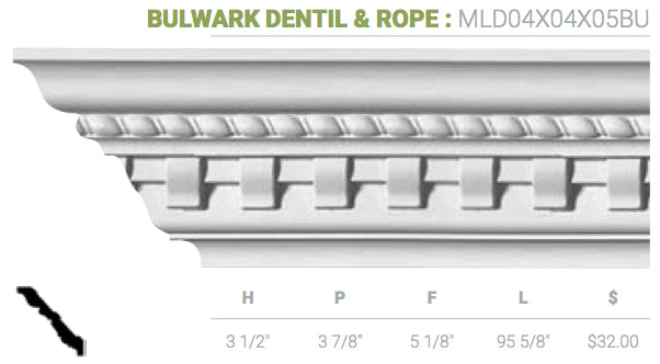 MLD04X04X05BU Bulwark Dentil And Rope Crown Moulding