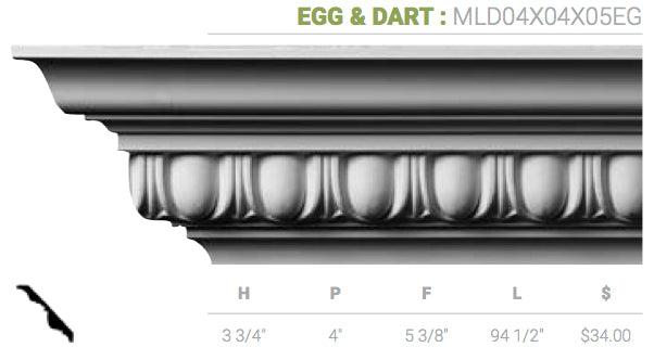 MLD04X04X05EG Egg And Dart Crown Moulding