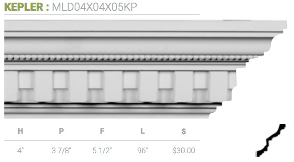 MLD04X04X05KP Kepler Crown Moulding