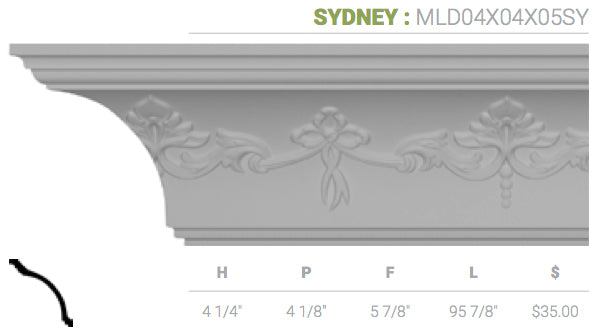 MLD04X04X05SY Sydney Crown Moulding