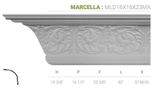 MLD16X16X23MA Marcella Crown Moulding