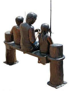 PB1050 Fishing Family Cast Bronze Garden Statue