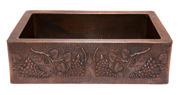 KASDB33229G Hammered Copper Kitchen Apron Sink