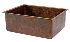 25'' Copper Hammered Kitchen Single Basin Sink
