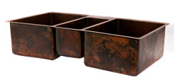 42'' Copper Hammered Kitchen Triple Basin Sink