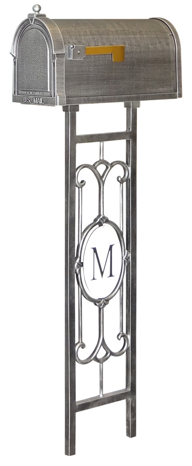 SCB-1015-SMP-550-SW Berkshire Curbside Mailbox with Monogram Mailbox Post