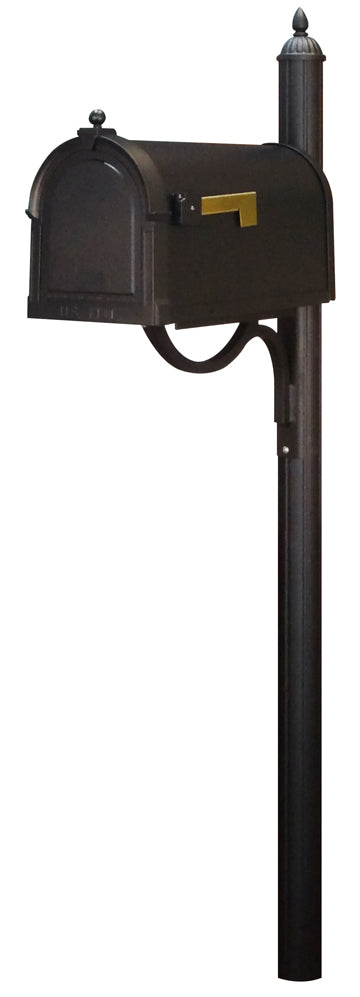 SCB-1015-SPK-679-BLK Berkshire Curbside Mailbox with Richland Mailbox Post