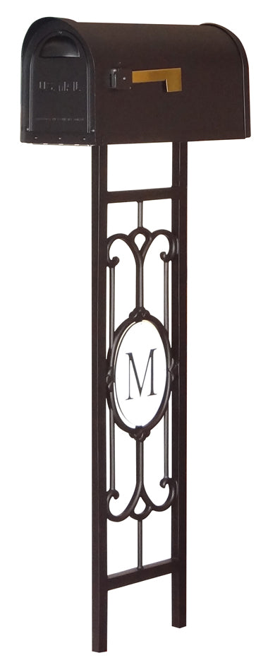 SCC-1008-SMP-550-BLK Classic Curbside Mailbox with Monogram Mailbox Post