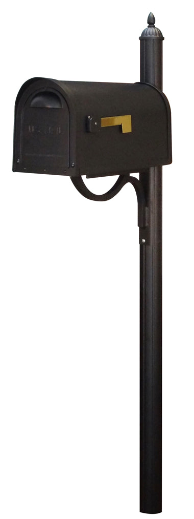 SCC-1008-SPK-679-BLK Classic Curbside Mailbox with Richland Mailbox Post