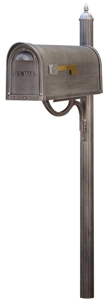 SCC-1008-SPK-679-SW Classic Curbside Mailbox with Richland Mailbox Post
