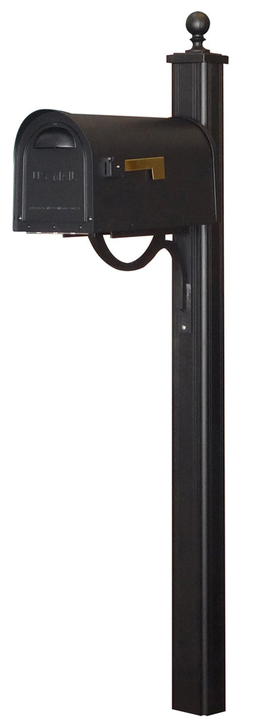 SCC-1008-SPK-700-BLK Classic Curbside Mailbox with Main Street Mailbox Post