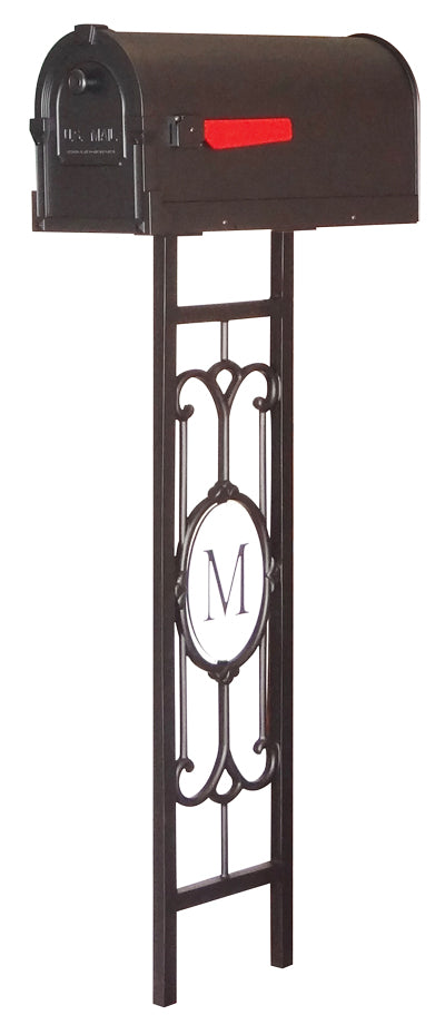 SCS-1014-SMP-550-BLK Savannah Curbside Mailbox with Monogram Mailbox Post
