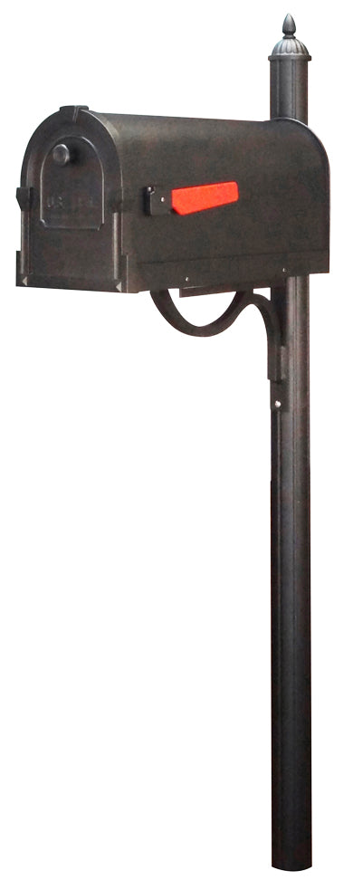 SCS-1014-SPK-679-BLK Savannah Curbside Mailbox with Richland Mailbox Post