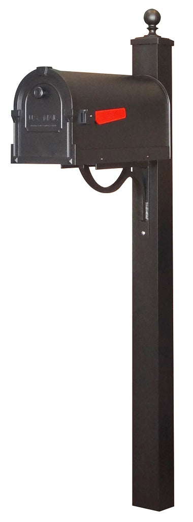 SCS-1014-SPK-710-BLK Savannah Curbside Mailbox with Springfield Mailbox Post