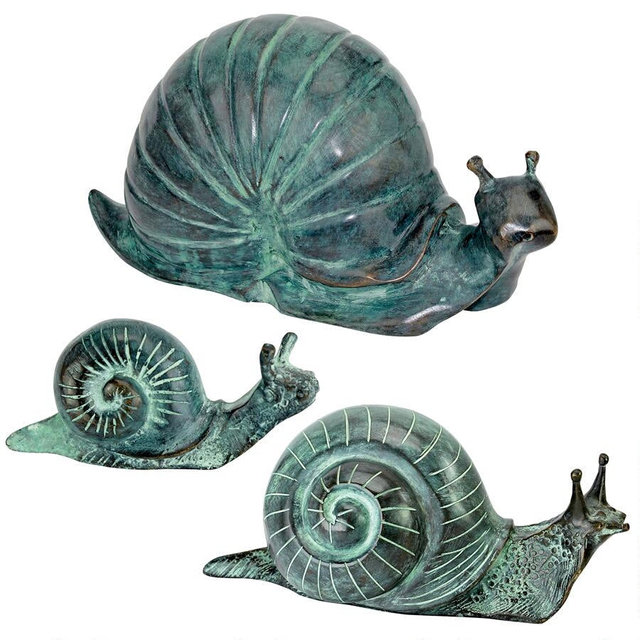 SU90025 Land Snails Cast Bronze Garden Statues