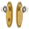 Sideplate Lockset - Oval Beaded Brass - Thumbturn Privacy Non-Keyed 3.375 Inch CTC