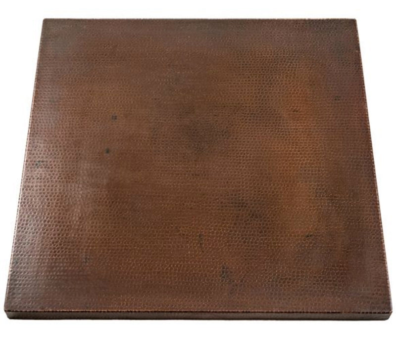TTS24DB 24 Inch Square Hammered Copper Table Top