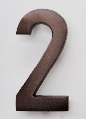 Brass Architectural Number 2 - Bronze Finish