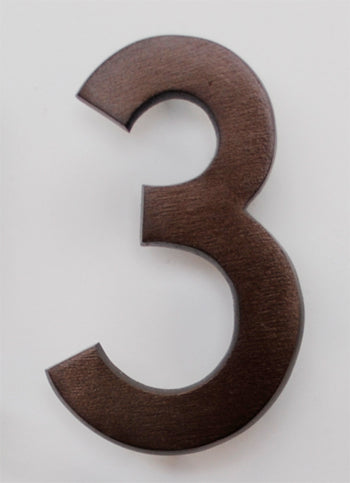 Brass Architectural Number 3 - Bronze Finish