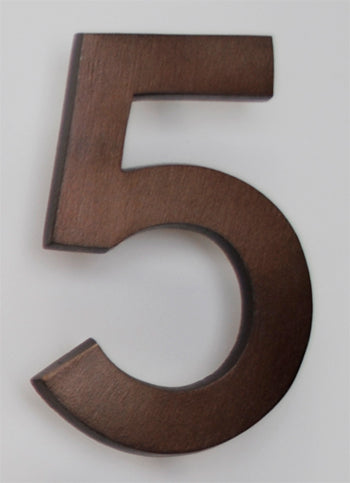 Brass Architectural Number 5 - Bronze Finish