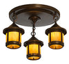 6'' berkeley short body 3 light ceiling mount