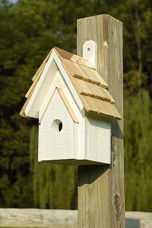 076D Classic Bird House - Whitewashed